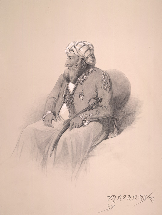 19th Century Rare Archival  Sketch Of Maharaja Gulab Singh Of Jammu-Kashmir